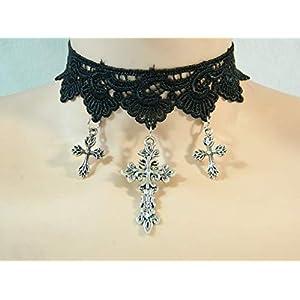Choker Spitze schwarz Kreut Cross Gothic Damenkette Halskette Dunkelelfe Draw
