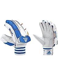 adidas CX11de deportes de Cricket bateo guantes de protección de piel oveja diseño Tab, color White/Orange/Blue, tamaño RH Mens
