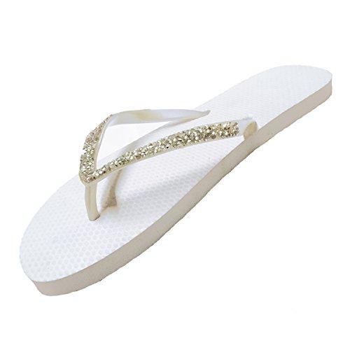 SUGAR ISLAND® Dame-Mädchen Diamante Flipflops Zehentrenner-Hochzeiten Bräute Beach (Braut Flip-flops Für Frauen)
