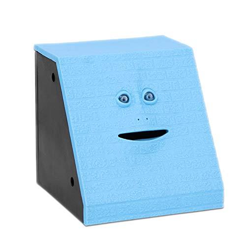 Aazsunnyshow Face Spardose Automatisch Spardose Kauen Spardose Katze Safe Box Spargeld für Kinder Süßigkeiten Maschine Brick Face Blue