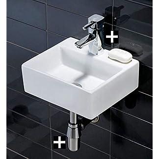 411VHzzQ9ZL. SS324  - Cuadrado de pared lavabo de cerámica con cuadrado grifo mezclador monomando para y residuos
