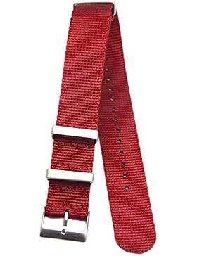 20mm rot deluxe premium NATO Stil robust exotisch weiches Nylon Sport Herren-Armbanduhr Band Armband