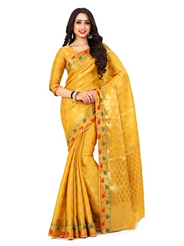 Mimosa By Kupinda Women's Art Silk saree Kanjivaram Style Color : Mustard...