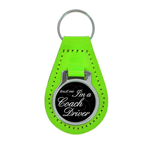 Trust Me I'm A Coach Driver Design Keyring Gift Boxed - LIME GREEN LEATHER (Bus Arriva)