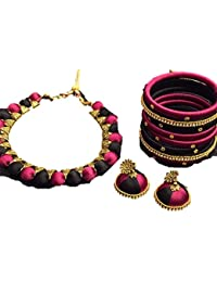 Sarpi Crafts Purple And Black Silk Thread Necklace Set With Gold Tone Filigree And White Stone Accents