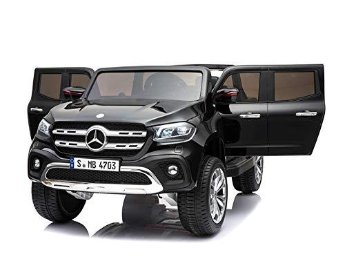 ES-TOYS Kinderfahrzeug - Elektro Auto Mercedes X-Klasse - lizenziert - Doppelsitzer - 12V10AH Akku,4 Motoren+ 2,4Ghz+Ledersitz (Schwarz)