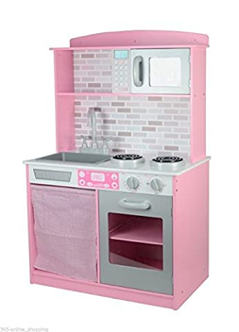 Garden Mile® Large Colourful Girls Kids Pink And White Wooden Play Kitchen Children's Pretend Play Set Durable Wood Toy Set