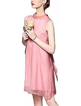 Abbigliamento donna Vestito estivo il nuovo vestito monocromatico di medio-lunghezza in gilet di seta pink l