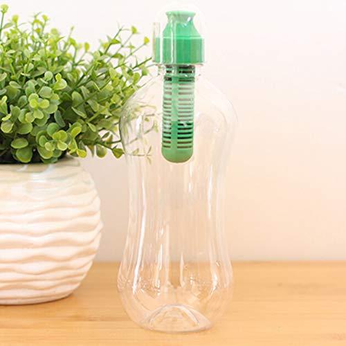 JIAOJIAN 550ML Plastikwasserwellenhydratationsfilter tragbare Flasche Outdoor Walking Gym Filter Umweltgesundheit Trinken Grün 550ml
