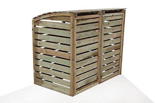 Mülltonnen-Box Mülltonnenverkleidung für 2 Tonnen inkl. Rückwand - 4