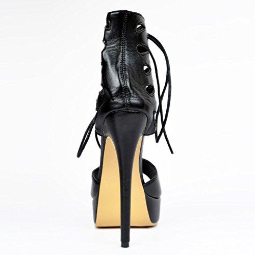 Kolnoo Damen Faschion Große Größe D'orsay Querlace-up Absatz Plattform Sandelholz Schuhe Black