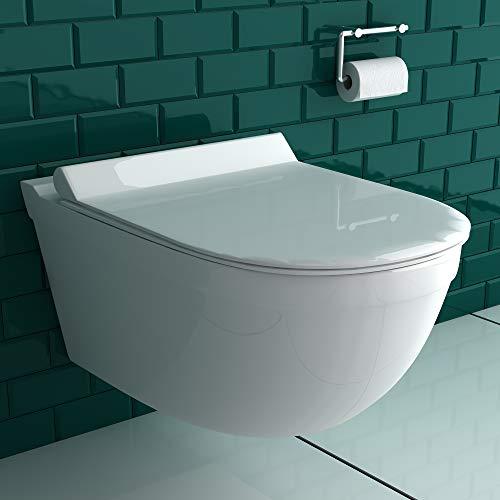 Spülrandloses Hänge-WC aus Sanitärkeraik inkl. WC-Sitz aus Duroplast Wand WC ohne Spülrand D-Form   leise, geräuschlose Absenkung SoftClose-Funktion   passend zu GEBERIT