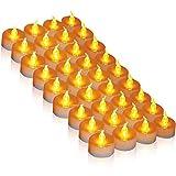 LED Kerzen,36 Stück LED Teelichter Kerzen CR2032 Batterie betrieben Kerzen unscented flammenlose Teelicht helle flackernde 100 + Stunden der Beleuchtung elektrische gefälschte Kerze für Zuhause Weihnachtsschmuck Hochzeit Tisch Geschenk im Freien warm gelb [Energieklasse A +++](Warmes Gelb, 1×36)
