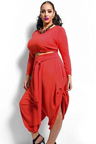 Red Plus size crop top drappeggiato Convertible Pants set 2pezzi Set leggings pantaloni set Club Wear casual abbigliamento leggings taglia EU 14-16