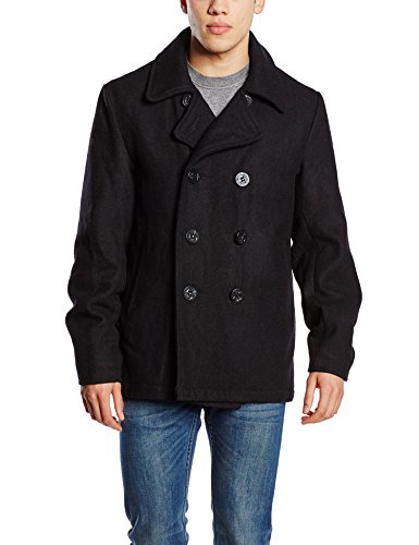 Brandit Herren Jacke Pea Coat, Schwarz (Schwarz 2), Large