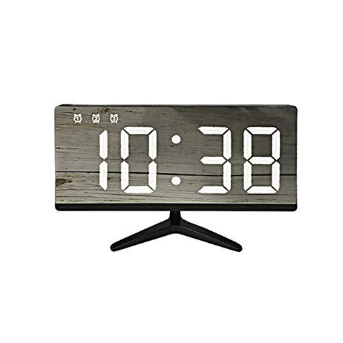 PTICA Reloj de Alarma electrónico de sobremesa LED Reloj Digital Digital sin Bordes con Ajuste Brillante...