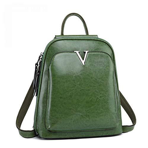 Große Kapazität Ölwachs Kuh Umhängetasche Leder Rucksack Dame Retro Tasche Computertasche, grün
