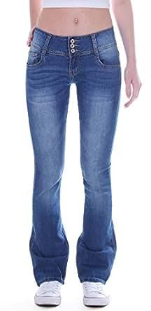 Bild nicht verfügbar. Keine Abbildung vorhanden für. Farbe  Damen Jeans  Bootcut Hose Hüftjeans Schlaghose Stretch 3 Knöpfe ... 5c0908c1ce