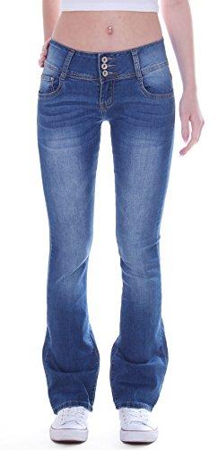 Damen Jeans Bootcut Hose Hüftjeans Schlaghose Stretch 3 Knöpfe blau Stretchjeans Schlagjeans Jeanshose Bootcutjeans Bootcuthose Schlag Weites Bein Hüfthose Hüftig Low Rise Denim Gr Größe M 38