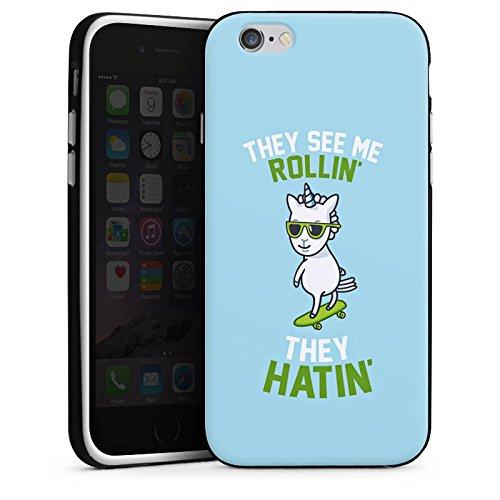 Apple iPhone X Silikon Hülle Case Schutzhülle Einhorn Unicorn Statement Silikon Case schwarz / weiß