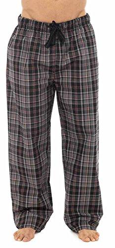 Herren Lange Pyjamahose, Polyester-Baumwoll-Gemisch, kariert Marine