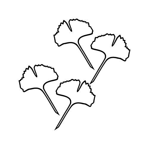 Kunststoff-kontur Blatt (2 Paar Gingko 15cm Kontur Aufkleber Ginko Blatt 4 Blätter Deko Folie Auto Fenster Tür Wandtattoo (schwarz))