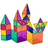 Conjunto de 50 + 6 piezas Playmags: ahora con imanes más fuertes, resistentes y duraderos, con baldosas de colores vivos y transparentes. Dieciocho piezas accesorias Clickins para aumentar la creatividad