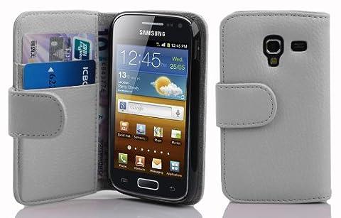 Cadorabo ! Etui Housse Coque en simili-cuir Book Style pour Samsung Galaxy ACE 2 I8160 in blanc