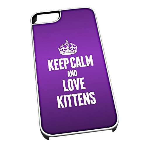 Duke Gifts Bianco Cover per iPhone 5/5S 2446 Viola Keep Calm And Love Gatt