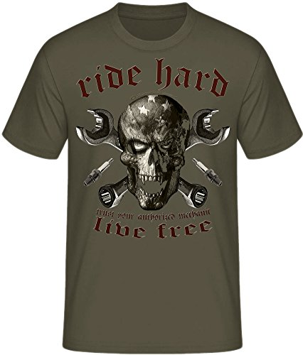 Live to ride Biker T-Shirts Milwaukee Iron Chopper Bobber Route 66, V2 Motorrad ride hard skull oliv