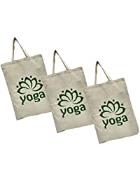 Maheshwari Cotton Bag For Lunch & Shopping, White Bag, 18 X 2 X 14 Inches, Pack Of 3 Bags - B07FYQRG46