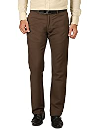 TIBRE Men's Cotton Slim Fit Trousers(088_Brown_40)