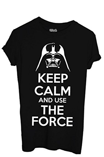 T-Shirt KEEP CALM STAR WARS LA FORZA - FILM by Mush Dress Your Style - Uomo-L-Nera