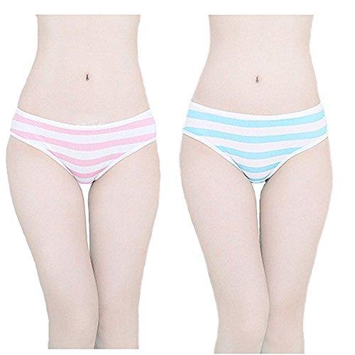 TOMORI Hot Cute Bikini im japanischen Stil, gestreift, Blau/Pink - mehrfarbig - Medium