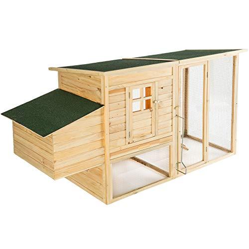Tectake 403228 gabbia per galline pollaio xxl conigliera abete per roditori conigli | 198 x 75 x 102 cm