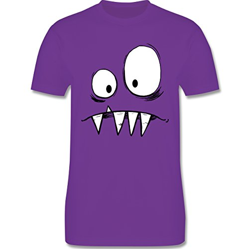 Karneval & Fasching - Monster Gesicht Kostüm 2 - XXL - Lila - L190 - Herren T-Shirt Rundhals
