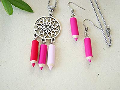 coffret cadeau maîtresse, collier et boucles d'oreilles crayons fimo rose, rouge, cadeau ATSEM