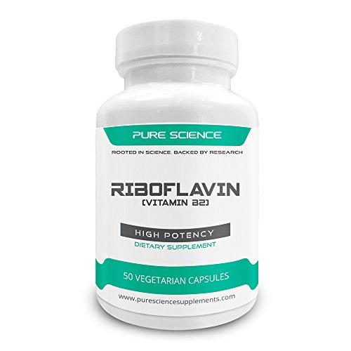 Riboflavine de Pure Science 400 mg (vitamine B2) - favorise l'énergie & Production de globules rouges, régule la croissance & développement, favorise la santé nerveuse - 50 Capsules végétariennes