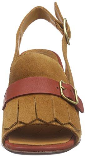 Chie Mihara Chema, Sandales à talon compensé femme Marron - Braun (jean cuero-roma brick)