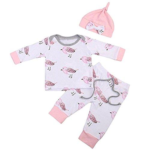 URSING Neugeboren Baby Mädchen Jungen Vögel Drucken Tops Hemd Hose 3 STÜCK Outfits Set Kleider, Tier Muster , Baumwolle (70, (Kleinkind Kostüm Junge Vogel)