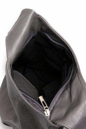 Ital. Croce borsa a tracolla per donna in nappa con scelta di colori 24,5x 28x 8,5cm (W x H x D) Gray - GREY