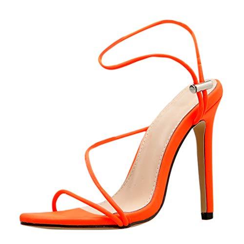 iHENGH Sandali da Donna con Tacco Alto Sandalo Moda Caual per Donna Sandals Women Fsshion Summer(Arancione,37)