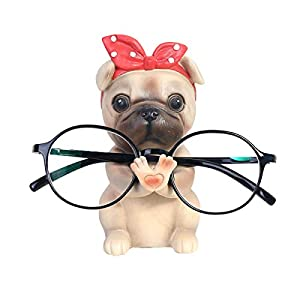 Konrisa Brillenhalter für Männer Frauen Brillenständer,Sonnenbrillen Brillenhalter Kreative Lesebrille Halter Home Office Dekoration Dog Ornament