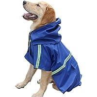 Rocita Chubasquero de Perro Ajustable Reflectante Impermeable Ligero con Capucha para Perros pequeños y Grandes (XL Azul Oscuro)