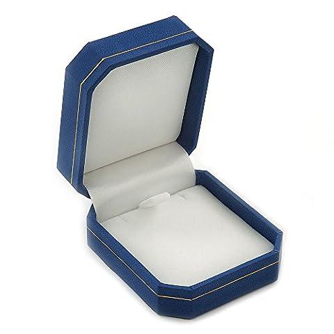 Blue Leatherette Brooch/ Pendant/ Earrings Octagonal Jewellery Box
