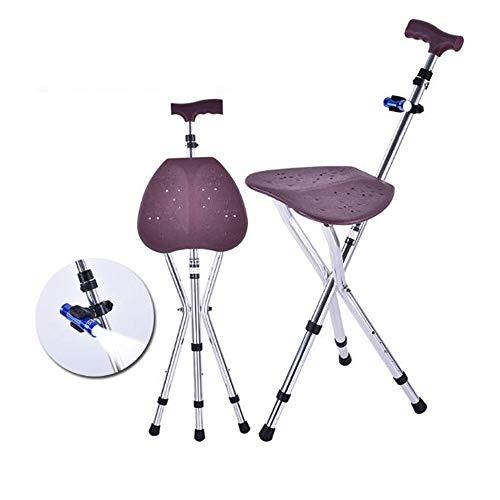 QJXF Folding Canes Seat Spazierstock, Höhenverstellung Cane Seat 220 Lbs Kapazität Combo Stühle Hocker, Massage Hocker, LED-Licht, Ältere Eltern Geschenk (Brown) -