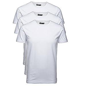 Jack and Jones 3er Pack Herren T-Shirt Basic V-Ausschnitt Oder Rundhals Einfarbig Slim Fit In Weiß Schwarz Blau Grau