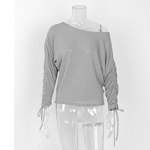 AHOOME Donna Casual Maglietta Pullovers Sweatshirt Tops Sweater Maniche Lunghe Felpa Senza Spalline Maglia T-shirt Tinta Unita Bluse Autunno-Inverno 2017 Grigio-3