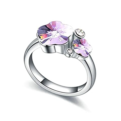 KnSam Women Gold Plate Wedding Bands Promise Rings 2 Plum Flower Shape Violet Size P 1/2 [Novelty Rings]