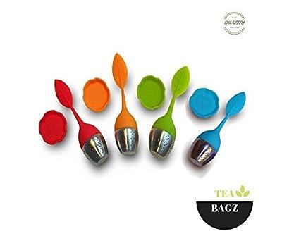 TEA-BAGZ/ Lot de 3+1 gratuit/ Infuseurs de Thé /En forme de feuille / Idéal pour une infusion Bio/Tisane/Thé vert,/ Thé noir/ Diffuseur à Thé Original/ Diffuseur à Thé de Haute Qualité / Diffuseur de thé 100% silicone/ Infuseur à Thé en silicone Non-Toxiq